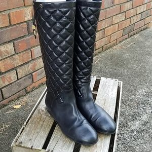 Michael Kors black leather quilted boots